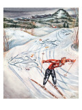 """Snow Skiier After the Falls,"" January 25, 1947 Lámina giclée por Constantin Alajalov"