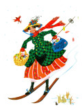 """Skiing Woman,"" Jan/Feb 84 Giclee Print by Ann Thompson"