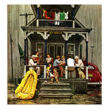 """Rainy Day at Beach Rental,"" July 31, 1948 Giclee Print by Stevan Dohanos"