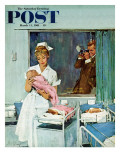 """Father Takes Picture of Baby in Hospital,"" Saturday Evening Post Cover, March 11, 1961 Giclee Print by M. Coburn Whitmore"