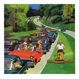 &quot;Speeder on the Median,&quot; June 2, 1962 Giclee Print by Richard Sargent