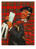 """Scotsman with Savings Bonds,"" October 9, 1943 Giclee Print by Howard Scott"