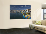 Harbor and Traditional Luzzu Fishing Boats, Marsaxlokk, Malta Wall Mural by Walter Bibikow