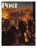 &quot;Steel Mills,&quot; Saturday Evening Post Cover, November 23, 1946 Giclee Print by John Atherton