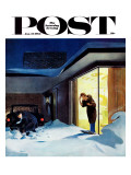 """Late for Party Due to Snow,"" Saturday Evening Post Cover, January 27, 1962 Giclee Print by George Hughes"