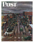 &quot;Falls City, Nebraska at Christmas,&quot; Saturday Evening Post Cover, December 21, 1946 Reproduction proc&#233;d&#233; gicl&#233;e par John Falter