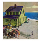 &quot;Fathers Off Fishing,&quot; June 18, 1960 Giclee Print by Thornton Utz