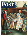 """Fabric Store,"" Saturday Evening Post Cover, May 22, 1948 Reproduction procédé giclée par Constantin Alajalov"
