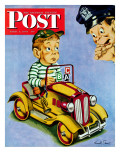 """Kiddie Car With Rationing Stickers,"" Saturday Evening Post Cover, April 1, 1944 Giclee Print by Ken Stuart"