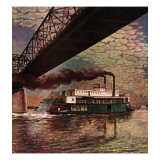 """Paddlewheeler on Ohio River,"" September 21, 1946 Giclee Print by John Atherton"
