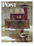 """Christmas at the Lighthouse,"" Saturday Evening Post Cover, December 28, 1946 Gicleetryck av Mead Schaeffer"
