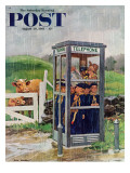"""Cub Scouts in Phone Booth,"" Saturday Evening Post Cover, August 26, 1961 Giclee Print by Richard Sargent"