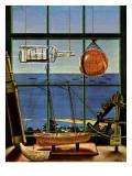 """""""Naval Convoy,"""" August 26, 1944 Reproduction procédé giclée par John Atherton"""