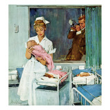 &quot;Father Takes Picture of Baby in Hospital,&quot; March 11, 1961 Giclee Print by M. Coburn Whitmore