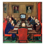 """Baseball in the Boardroom,"" October 8, 1960 Giclée-Druck von Lonie Bee"