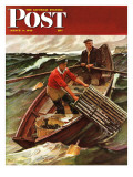 &quot;Lobstermen,&quot; Saturday Evening Post Cover, March 9, 1946 Reproduction proc&#233;d&#233; gicl&#233;e par Mead Schaeffer
