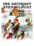 """Ice-Skating in the Country,"" Saturday Evening Post Cover, December 1, 1971 Giclee Print by John Falter"