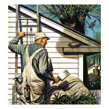 """Housepainter and Bird's Nest,"" May 12, 1945 Giclee Print by Stevan Dohanos"