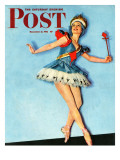 """Ballet Comes to Main Street,"" Saturday Evening Post Cover, November 21, 1942 Giclee Print by Constance Bannister"