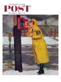 """Crossing Guard Fixing Her Makeup,"" Saturday Evening Post Cover, December 3, 1960 Giclee Print by Richard Sargent"