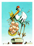 """Stork and Quints,"" April 1, 1984 Giclee Print by BB Sams"