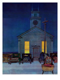 """Rural Church at Night,"" December 30, 1944 Giclee Print by Mead Schaeffer"