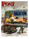 """Billboard Painters in Winter,"" Saturday Evening Post Cover, February 14, 1948 Giclee Print by Stevan Dohanos"
