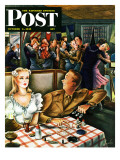 """War Stories,"" Saturday Evening Post Cover, October 6, 1945 Giclee Print by Constantin Alajalov"