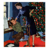 """Christmas Thank You Notes,"" January 9, 1960 Giclee Print by George Hughes"