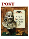"""Benjamin Franklin, bust,"" Saturday Evening Post Cover, January 21, 1961 Giclee Print by John Atherton"