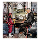 """Grandpa's Workshop,"" November 12, 1949 Giclee Print by Stevan Dohanos"