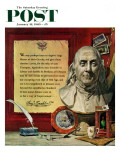 """Benjamin Franklin - bust and quote,"" Saturday Evening Post Cover, January 16, 1960 Giclee Print by Stanley Meltzoff"