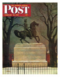 &quot;Statue of Washington on His Horse,&quot; Saturday Evening Post Cover, February 22, 1947 Giclee Print by John Atherton