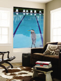 Heron at Pool Wall Mural by Thomas Winz
