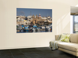Harbor and Traditional Luzzu Fishing Boats, Marsaxlokk, Malta Wall Mural by Walter Bibikow