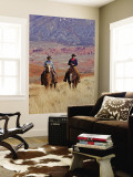 Cowboy and Cowgirl Riding Through Scenic Hills of the Big Horn Mountains, Shell, Wyoming, USA Wall Mural by Joe Restuccia III