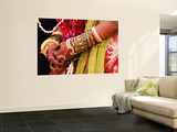 Bejewelled Bride with Henna Hands at Mumbai Wedding Wall Mural by Gerard Walker
