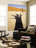 Dead Tree Casts Shadow on Dry Lakebed, , Sossusvlei, Namibia, Africa Wall Mural by Wendy Kaveney