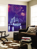 Fireworks Over the Tower Bridge, London, Great Britain, UK Wall Mural by Jim Zuckerman