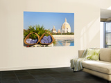 Hotel Charleston Cartagena Towels with Dome of San Pedro Claver Church Reflected in Water Wall Mural by Jane Sweeney