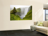 Skogarfoss Waterfall Plunges Over a Volcanic Cliff, Iceland Wall Mural by Don Grall