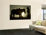 Cowboy With His Horse at Sunset, Ponderosa Ranch, Oregon, USA Wall Mural by Josh Anon