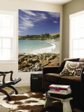 Boat Harbour Beach and Orange Lichen on Rocks, North Western Tasmania, Australia Wall Mural by David Wall