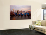 Anchored Gondolas at Twilight, Venice, Italy Wall Mural by Jim Zuckerman