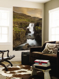 Waterfall in Berufjordur Fjord, Iceland Wall Mural by Don Grall