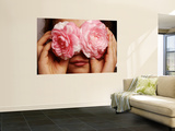 Young Girl Holding Camellia Flowers over Her Eyes Wall Mural by Oliver Strewe