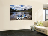Kayaks, Cradle Mountain and Dove Lake, Lake St Clair National Park, Western Tasmania, Australia Wall Mural by David Wall