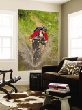 Mountain Biker Splashes Through Andrews Creek, Maah Daah Hey Trail in Medora, North Dakota, USA Wall Mural by Chuck Haney
