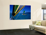 Sea Kayakers under Sail, Furneaux Islands, Bass Strait Wall Mural by Grant Dixon
