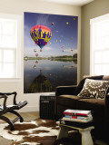 Hot Air Balloons Reflected in Prospect Lake, Colorado Springs, Colorado, USA Wall Mural by Don Grall